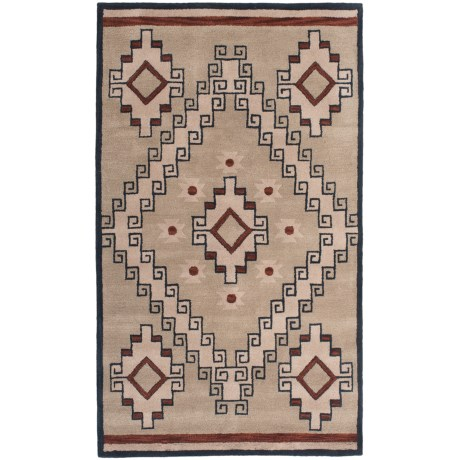Rizzy Home South-West Collection Grey and Blue Area Rug - 5x8', Wool in Light Brown