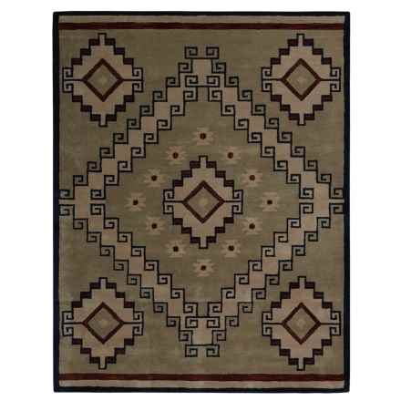 Rizzy Home South-West Collection Grey and Blue Area Rug - 8x10', Wool in Light Brown - Closeouts