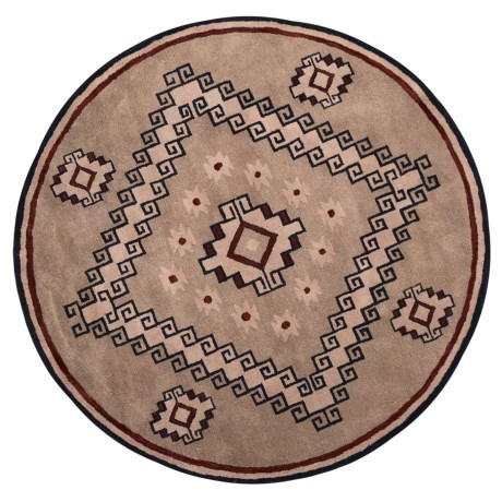 Rizzy Home South-West Collection Grey and Blue Round Area Rug - 8', Wool in Light Brown