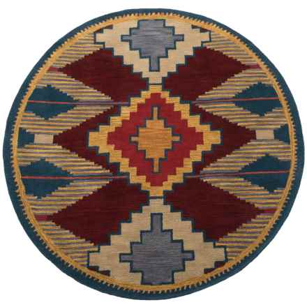 """Rizzy Home South-West Collection Red and Blue Round Area Rug - 8"""", Wool in Red/Blue - Closeouts"""
