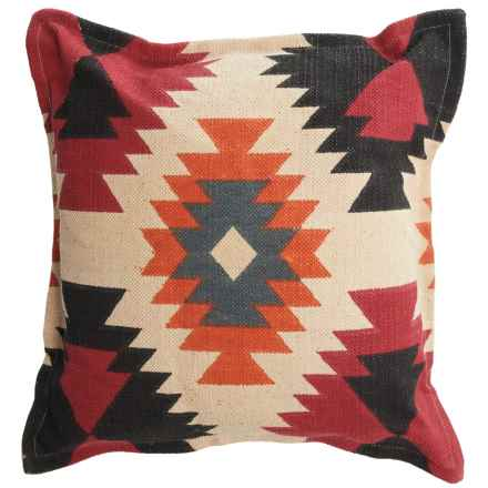 "Rizzy Home Southwestern Decor Pillow - 26x26"" in Orange/Ivory Multi - Closeouts"