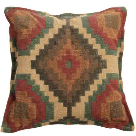"Rizzy Home Square Print Decor Pillow - 26x26"" in Red/Orange/Grey Multi - Closeouts"