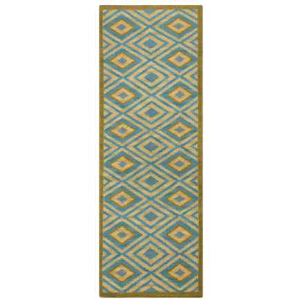 "Rizzy Home Swing Floor Runner - 2'6""x8', Handwoven Dhurrie Wool in Blue/Tan - Closeouts"