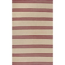 Rizzy Home Swing Stripe Area Rug - 5x8', Dhurrie Wool in Beige/Red Stripe - Closeouts