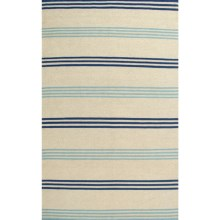 Rizzy Home Swing Stripe Area Rug - 8x10', Dhurrie Wool in Beige/Blue Stripe - Closeouts
