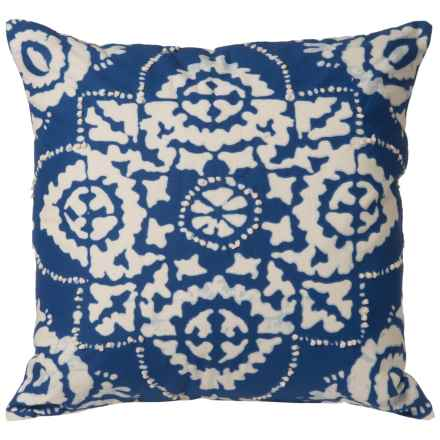 """Rizzy Home Tie-Dye Decor Pillow - 18x18"""" in Navy Blue/Cream - Closeouts"""