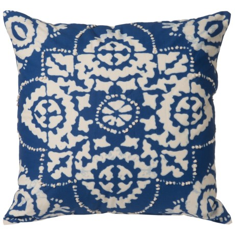 "Rizzy Home Tie-Dye Decor Pillow - 18x18"" in Navy Blue/Cream"