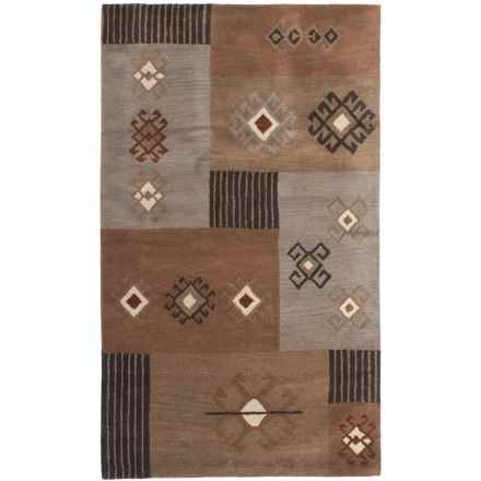 Rizzy Home Tumble Weed Loft Collection Beige and Grey Area Rug - 5x8', Wool in Brown - Closeouts