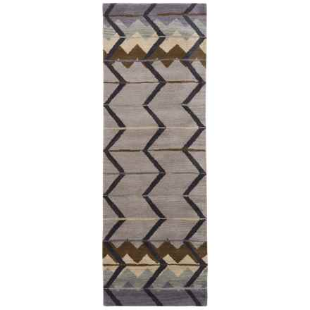 "Rizzy Home Tumble Weed Loft Collection Blue Chevron Floor Runner - 2'6""x8', Wool in Grey - Closeouts"