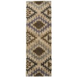"""Rizzy Home Tumble Weed Loft Collection Blue Diamond Floor Runner - 2'6""""x8', Wool"""