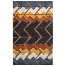 Rizzy Home Tumbleweed Loft Accent Rug - 3x5', Hand-Tufted Wool in Brown/Rust Chevron - Closeouts