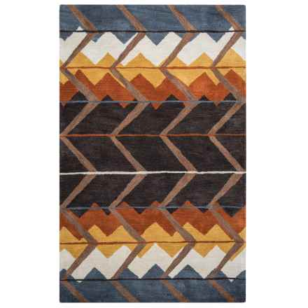 Rizzy Home Tumbleweed Loft Accent Rug - 8x10', Hand-Tufted Wool in Brown/Rust Chevron - Closeouts