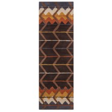 "Rizzy Home Tumbleweed Loft Floor Runner - 2'6""x8', Hand-Tufted Wool in Brown/Rust Chevron - Closeouts"
