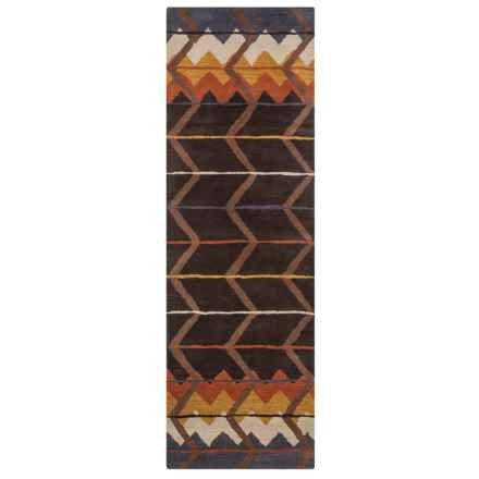 """Rizzy Home Tumbleweed Loft Floor Runner - 2'6""""x8', Hand-Tufted Wool in Brown/Rust Chevron - Closeouts"""