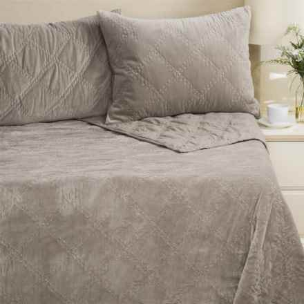 Rizzy Home Velvet Quilt and Pillow Sham Set - King in Grey - Closeouts