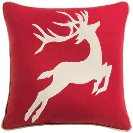 "Rizzy Home White Reindeer Decor Pillow - 20x20"" in Red/Ivory - Closeouts"