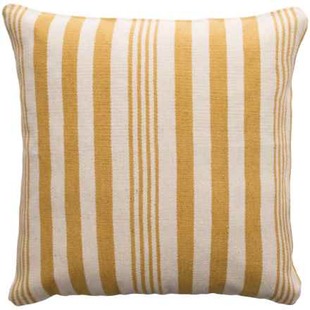 "Rizzy Home Wool Canvas Striped Decor Pillow - 24x24"" in Yellow/White - Closeouts"