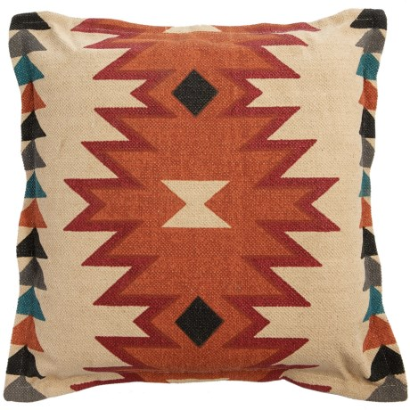 "Rizzy Home Zig-Print Decor Pillow - 26x26"" in Ivory/Orange Multi"