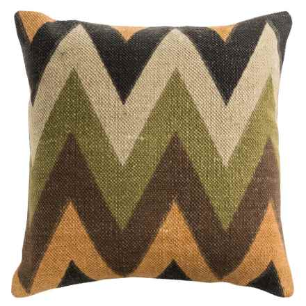 "Rizzy Home Zigzag Print Decor Pillow - 20x20"" in Green/Brown Multi - Closeouts"