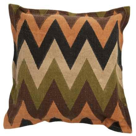 "Rizzy Home Zigzag Print Decor Pillow - 26x26"" in Green/Brown Multi - Closeouts"