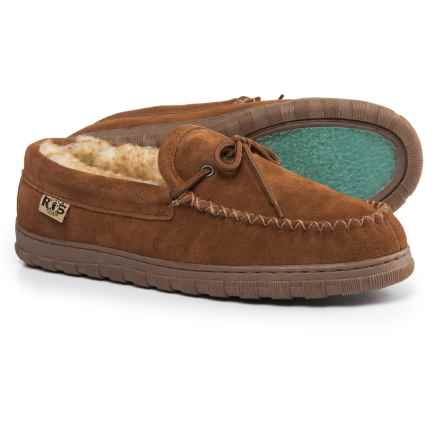 Rj's Fuzzies Sheepskin Moccasins - Suede (For Men) in Chestnut - Closeouts