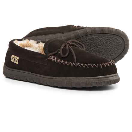 Rj's Fuzzies Sheepskin Moccasins - Suede (For Men) in Chocolate - Closeouts