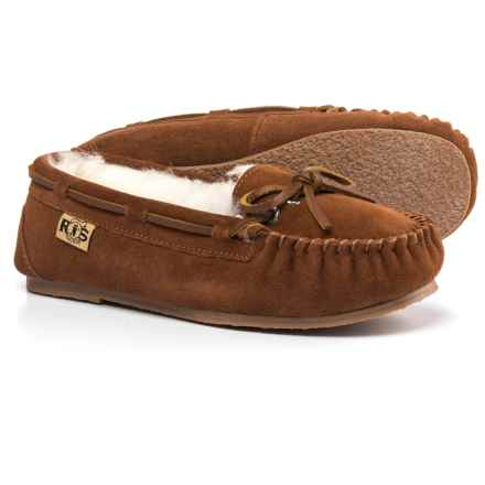 RJ'S Fuzzies Sheepskin Rj's Fuzzies Sheepskin Moccasins - Suede (For Women) in Wheat - Closeouts