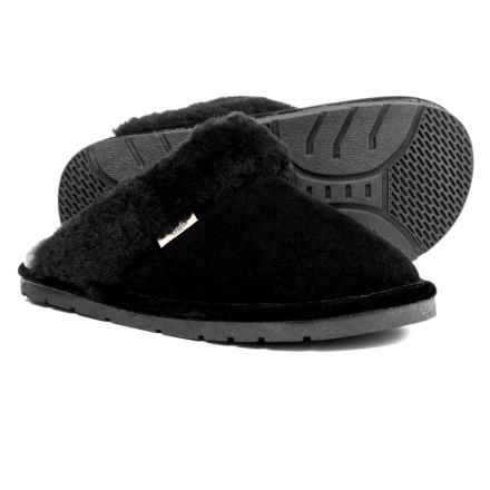 RJ'S Fuzzies Sheepskin Scuff Slippers - Suede (For Women) in Black - Closeouts