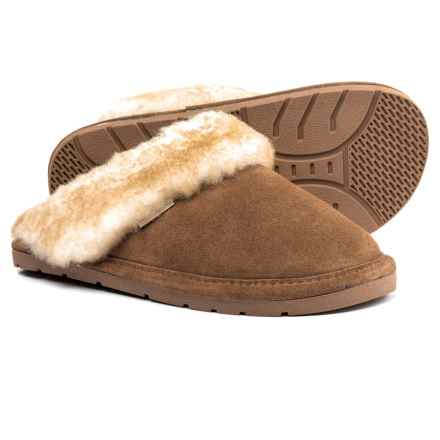 Rj's Fuzzies Sheepskin Scuff Slippers - Suede (For Women) in Chestnut - Closeouts