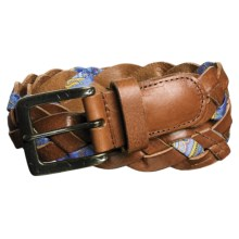 Robert Graham Amos Braided Belt - Leather-Silk, Antique Brass Buckle (For Men) in Brown - Closeouts