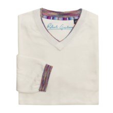 Robert Graham Kapock Cotton Sweater - High V-Neck (For Men) in White - Closeouts