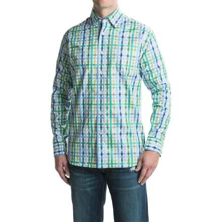 Robert Talbott Anderson Check Sport Shirt - Cotton, Long Sleeve (For Men) in Kiwi/Green/Sky - Closeouts