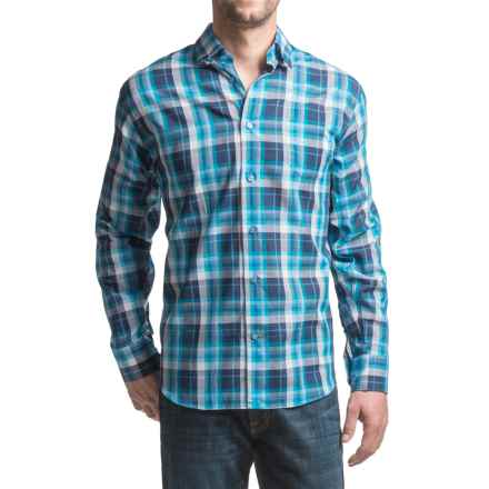 Robert Talbott Anderson French Front Sport Shirt - Cotton, Long Sleeve (For Men) in Navy/Blue Plaid - Closeouts
