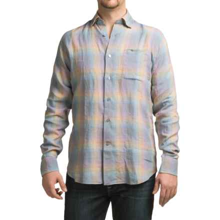 Robert Talbott Anderson Pale Plaid Sport Shirt - Linen, Classic Fit, Long Sleeve (For Men) in Pale Blue/Orange/Grey - Closeouts