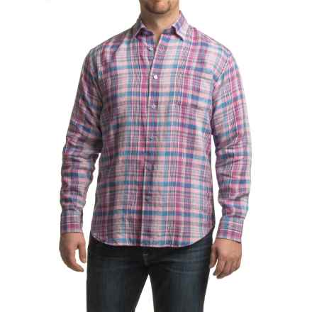 Robert Talbott Anderson Plaid Linen Sport Shirt - Classic Fit, Long Sleeve (For Men) in Rose/Blue - Closeouts