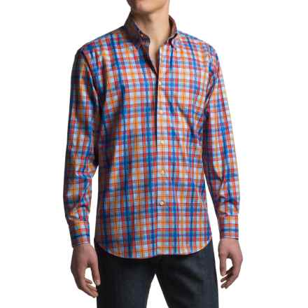 Robert Talbott Anderson Plaid Sport Shirt - Cotton, Classic Fit, Long Sleeve (For Men) in Blue/Orange/Yellow - Closeouts