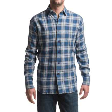 Robert Talbott Anderson Windowpane Plaid Sport Shirt - Linen, Long Sleeve (For Men) in Blue/Black/Avacado - Closeouts