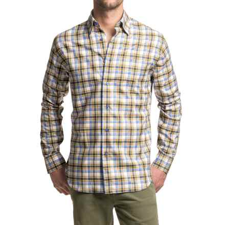 Robert Talbott Anderson Windowpane Plaid Sport Shirt - Long Sleeve (For Men) in Blue/White/Walnut - Closeouts