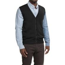 Robert Talbott Brandt Merino Wool Sweater Vest - Button Front (For Men) in Black - Closeouts