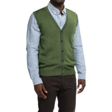 Robert Talbott Brandt Merino Wool Sweater Vest - Button Front (For Men) in Moss - Closeouts