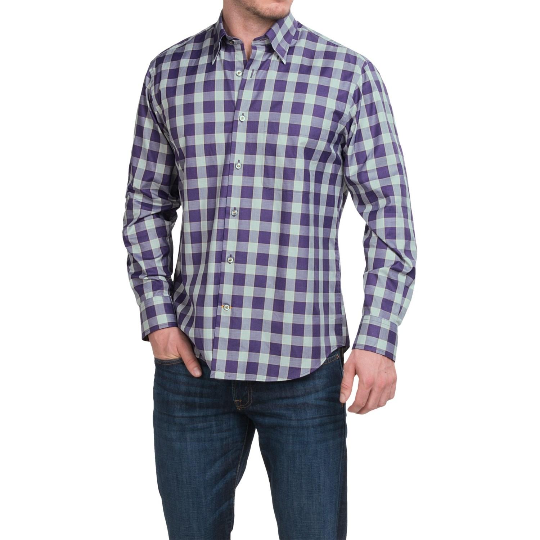 Robert talbott check cotton sport shirt for men save 74 for Button up collared sport shirts