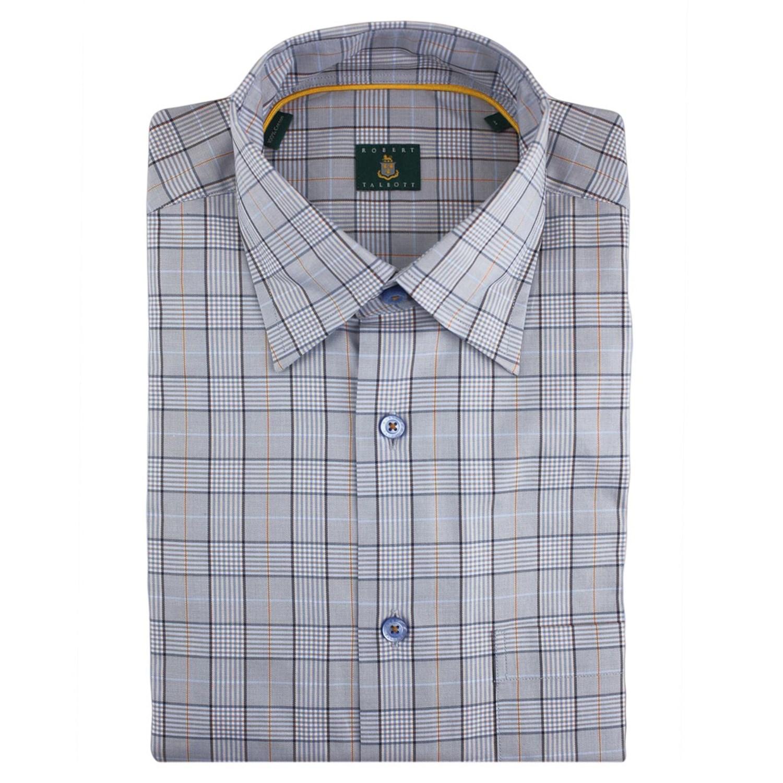 Robert talbott check sport shirt hidden button down for Hidden button down collar shirts