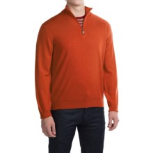 Robert Talbott Cooper Merino Wool Sweater - Zip Neck (For Men) in Burnt Orange - Closeouts
