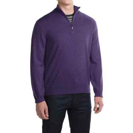 Robert Talbott Cooper Merino Wool Sweater - Zip Neck (For Men) in Concord - Closeouts