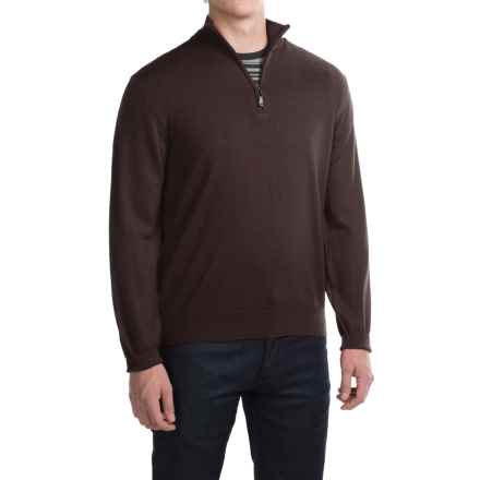 Robert Talbott Cooper Merino Wool Sweater - Zip Neck (For Men) in Espresso - Closeouts