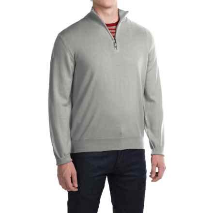 Robert Talbott Cooper Merino Wool Sweater - Zip Neck (For Men) in Light Grey - Closeouts