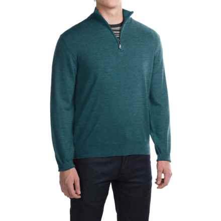 Robert Talbott Cooper Merino Wool Sweater - Zip Neck (For Men) in Teal - Closeouts