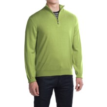 Robert Talbott Cooper Merino Wool Sweater - Zip Neck (For Men) in Verde - Closeouts