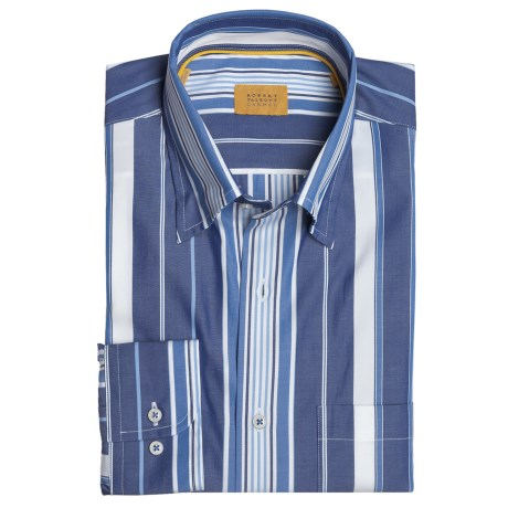 Robert Talbott Cotton Stripe Sport Shirt - Long Sleeve (For Men) in White/Navy