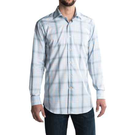 Robert Talbott Crespi IV French Front Sport Shirt - Trim Fit, Long Sleeve (For Men) in Light Blue/Rust/White - Closeouts